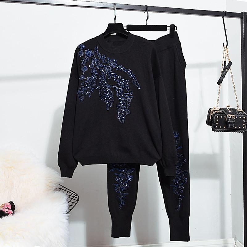 Autumn Winter Woman Tracksuit New Fashion Vintage Beaded Sweater + Long Pant Knit Suit 2019 Women Two Piece Set Sportsuit Outfit