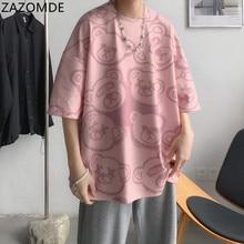 ZAZOMDE 2021 New bear Top Short Sleeve Tshirt Harajuku Summer men T-Shirt Teddy Bear Letter Loose White Clothing Oversized M—8XL