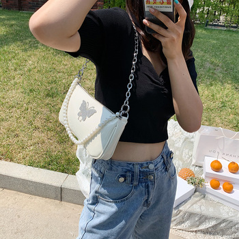 Color Diamond Butterfly Women Baguette Handbags Vintage Pearl Chain Ladies Small Shoulder Bag Fashion Design PU Leather Purse