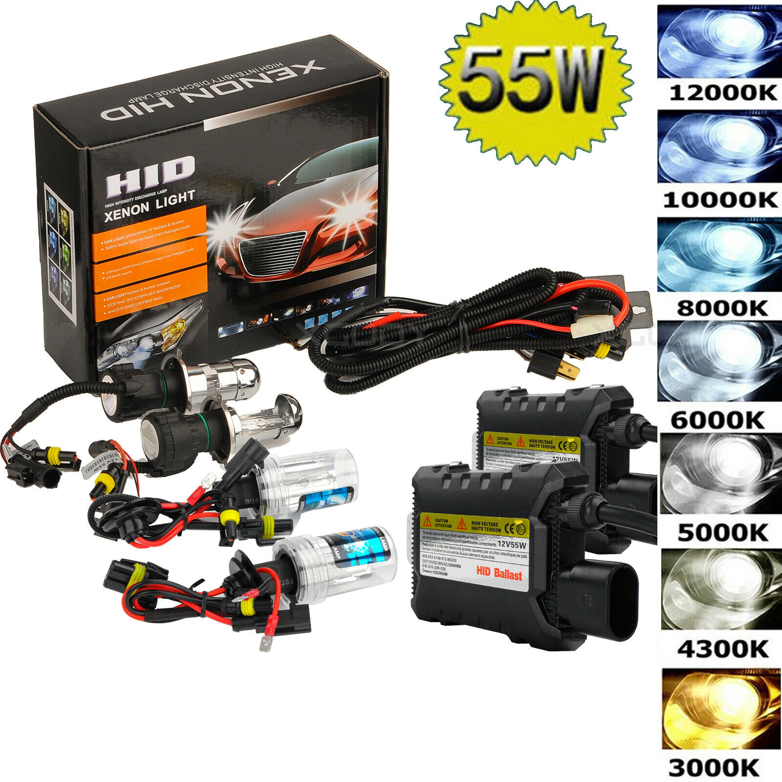 2pcs 55W Car HID LED Headlight 6000K/8000K/10000K/12000K Conversion KIT Bulbs H1 H3 H4 H7 H11 9005/HB3 9006/HB4 880/881 H13 H8