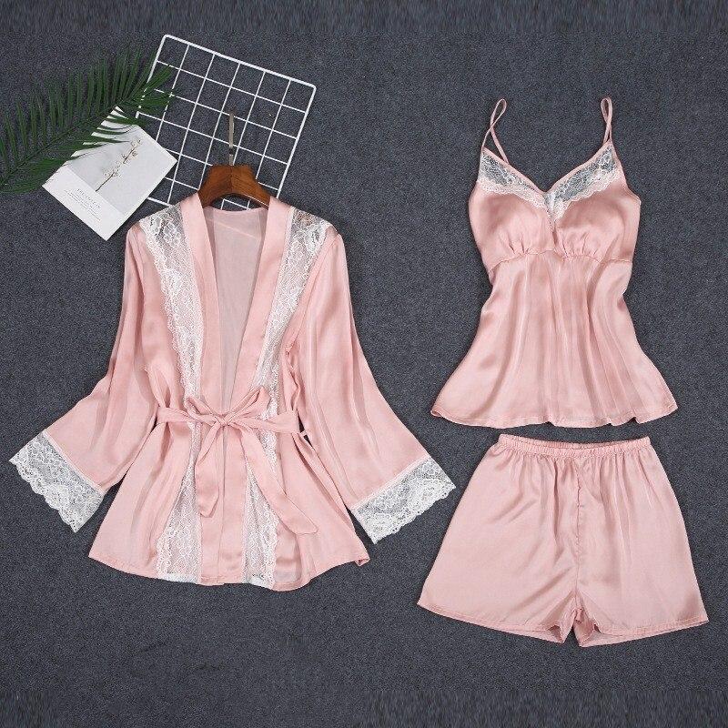 Женские пижамные комплекты из 3 предметов, шорты, весенние и летние сексуальные женские пижамы для сна, ночные рубашки, платья брюки, женские