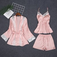 WoMen 3 Pieces Pajama Sets Shorts Spring And Summer Sexy Women Sleep Lounge Nightdress Robe Pants Female Pajamas