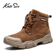 Buy KATESEN Men Boots Plush Warm Ankle Boots Waterproof Leather Snow Boots Outdoor Military Boots Men's shoes Big Size 38-46 directly from merchant!