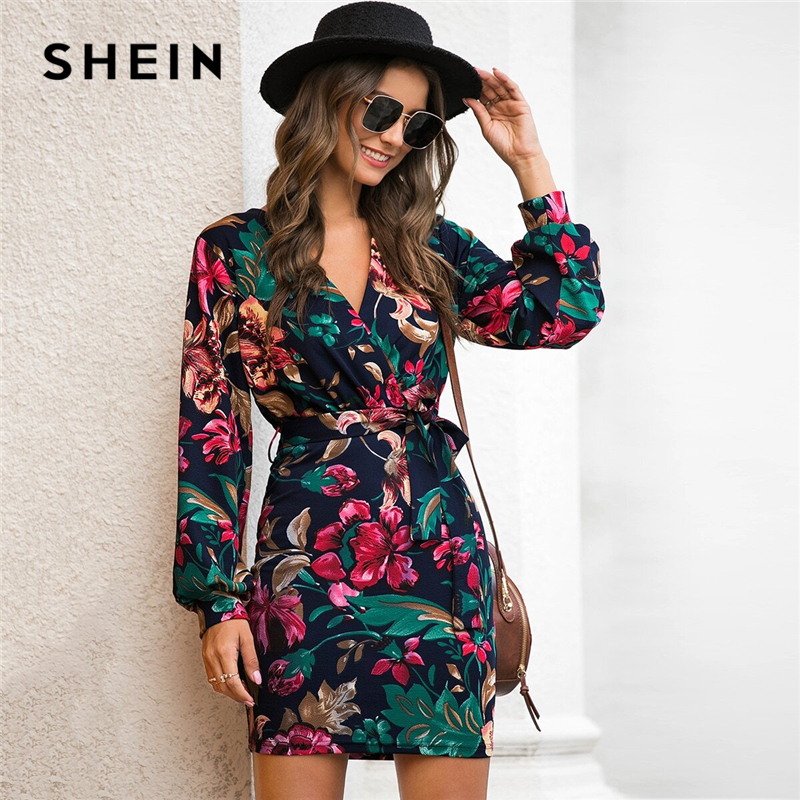 SHEIN V Neck Floral Print Casual Belted Pencil Dress Women Autumn Streetwear High Waist Multicolor Long Sleeve Short Dresses 1