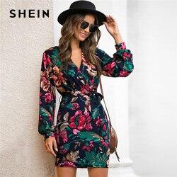 SHEIN V kaklo gėlėta suknelė