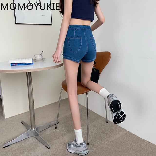 Women Denim Shorts Stretch Slim Push Up Hips Elastic Cotton Straight Short Jeans Female Casual Summer Woman Summer Plus size 2