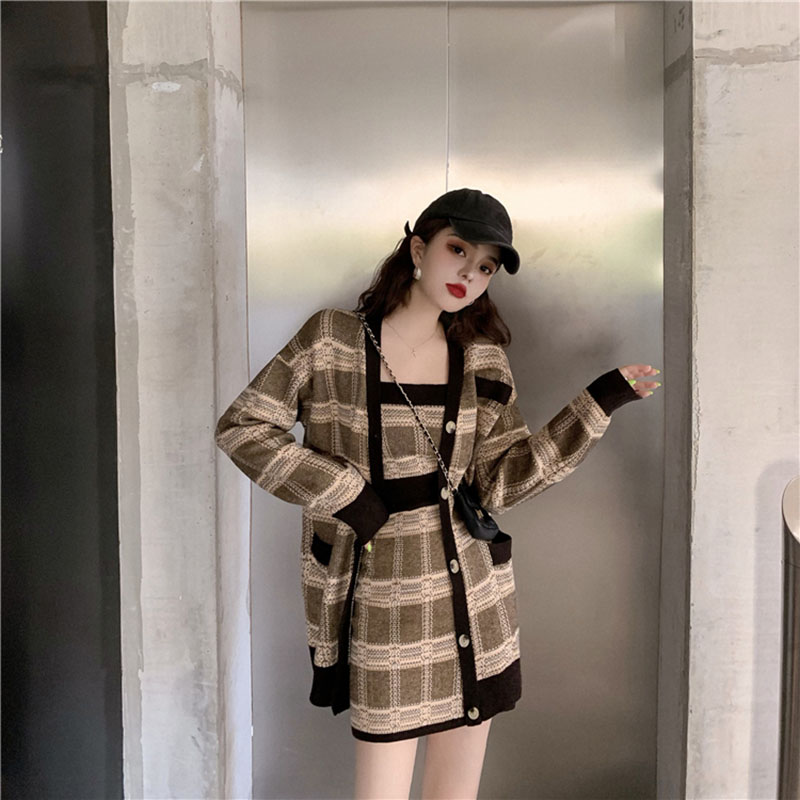 Women's Autumn Winter Plaid Cardigan Sweater Knit Suit New Korean Knit Sweater Camisole A Word Skirt Three-piece Ins Tide ML168