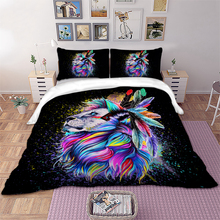 Wongs bedding 3D Lion feather Bedding set colorful animal Duvet Cover Pillowcases Twin Full Queen King Size bed