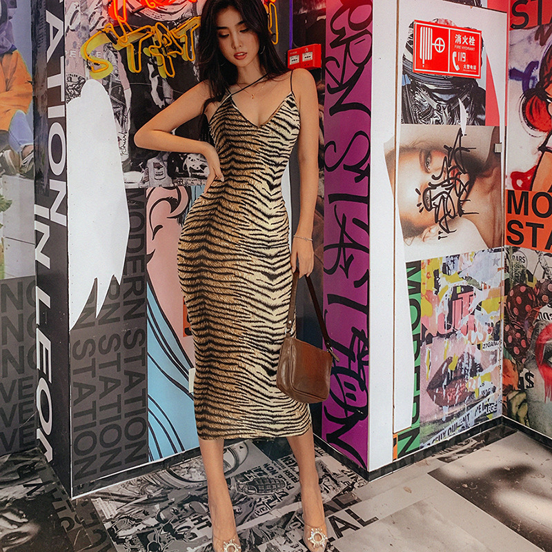 Toplook Tiger Printed Sexy Dresses Spaghetti Strap Dress Women Sexy V Neck Animal Party Night Clubwear Summer Vestidos