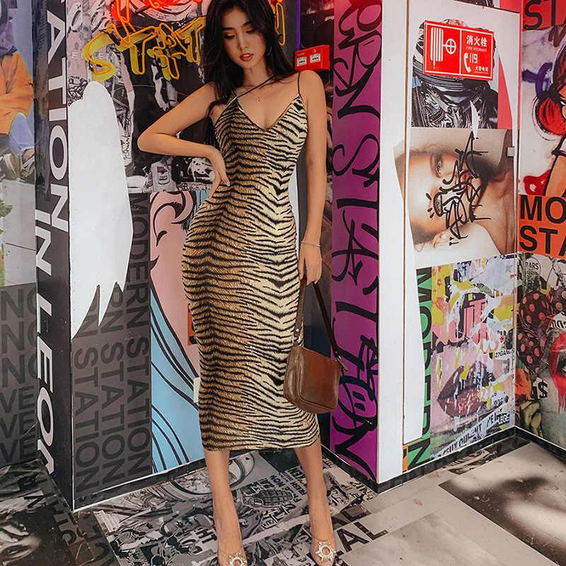 Toplook Tiger พิมพ์เซ็กซี่ชุดเดรสสปาเก็ตตี้เซ็กซี่สตรี V คอสัตว์ PARTY Night Clubwear ฤดูร้อน Vestidos
