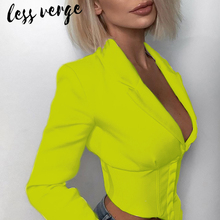 Lessverge Sexy v neck cropped short white blazer Women casual long sleeve female black blazer jacket Autumn party women suits