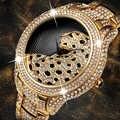 MISSFOX montre homme étanche Quartz montre bracelet inoxydable Top marque diamant léopard Case décontracté horloge dorée Relogio