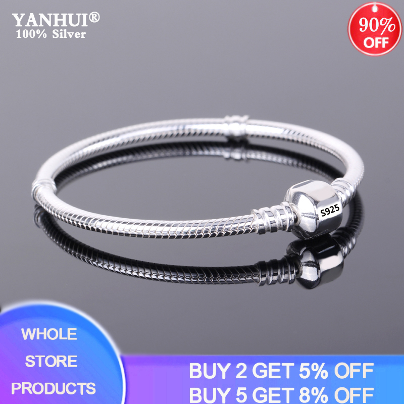 With Certificate 100% Original 925 Sterling Silver Original Charm Bracelet with S925 Logo Women DIY Beads Charms Bracelet Bangle