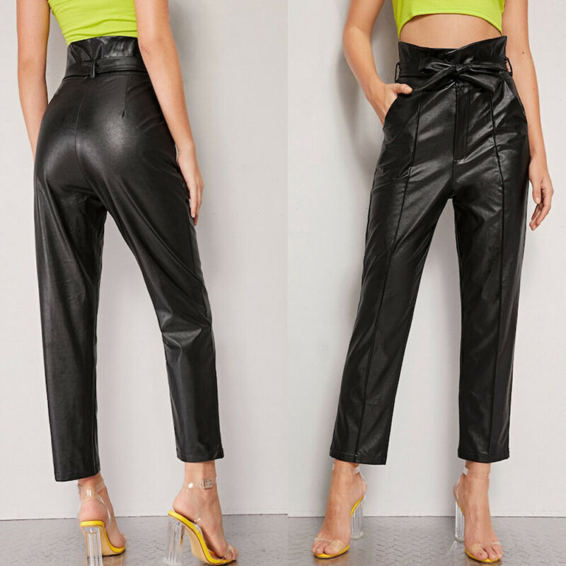 Sexy Womens High-Waist PU Leather Pencil Pants Skinny High Waist Leggings Stretch Trousers