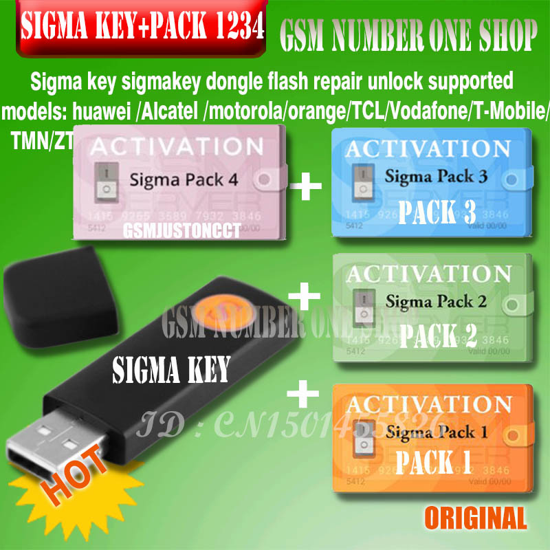 DHL TO100% Original New Sigma Key With Pack1.2.3.4 Activated Full Sigmakey Dongle For Alcatel Alcatel Huawei Flash Repair Unlock
