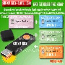 Llave Sigma original con paquete 1.2.3.4, llave electrónica completa activada para alcatel, alcatel, huawei, desbloqueo de reparación de flash, 100%
