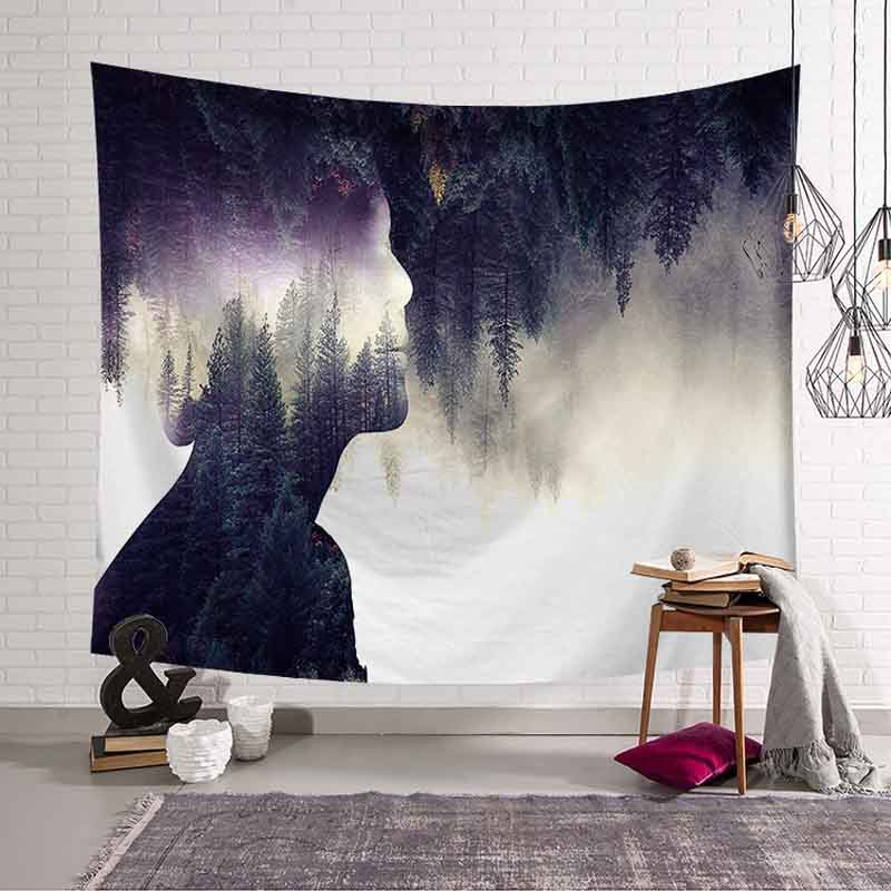 Large Forest People Shadow Tapestry Wall Hanging Psychedelic Tapestry Wall Fabric Decor Custom Mandala Blanket Beach Carpet/Rug