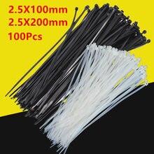 100 pces abs plástico cabo laços zip prender fio envoltório cinta de fixação de plástico de náilon algemas prendedor travamento