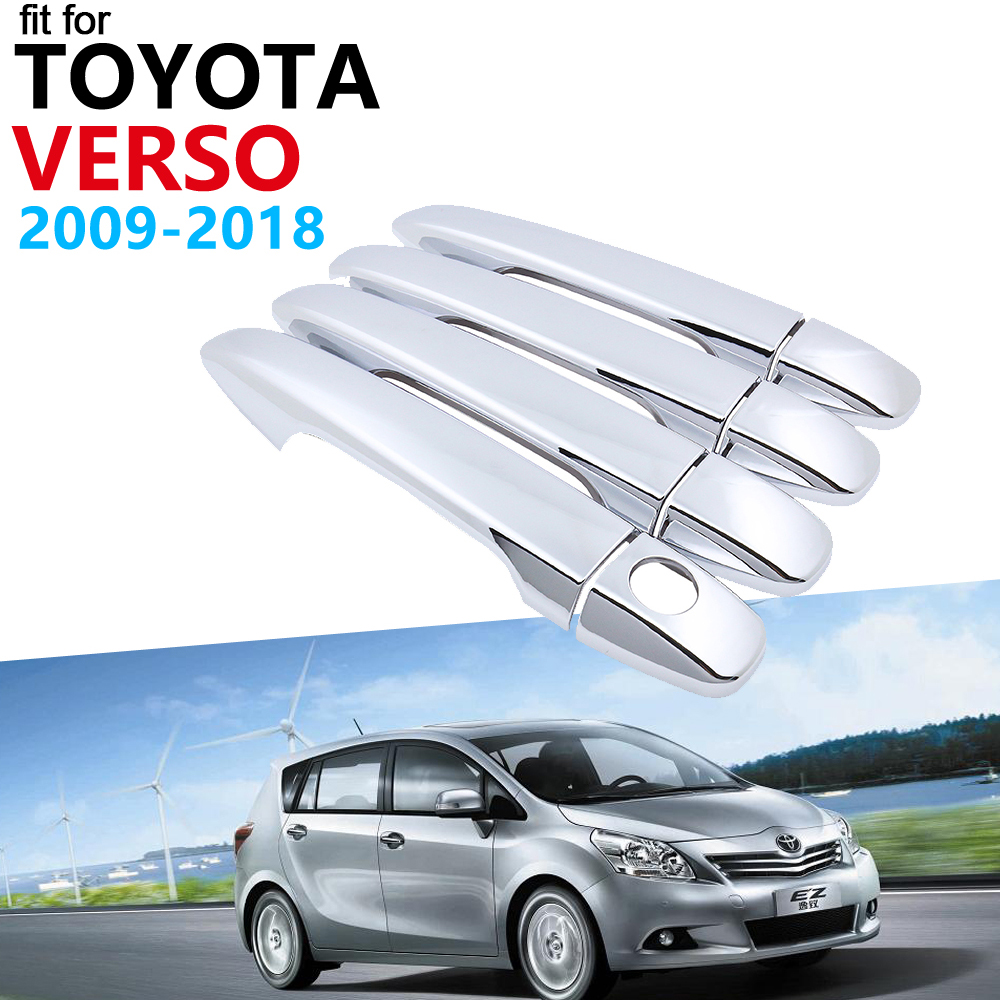 Door Handle Car Accessories for <font><b>Toyota</b></font> Verso AR20 <font><b>20</b></font> 2009~2018 Chrome Handle Cover Trim Set Car Stickers 2017 2016 2015 2014 image