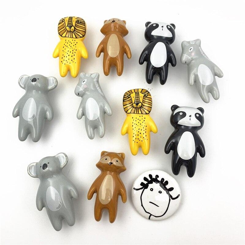 Керамическая картонная ручка LCH, в форме льва, короля, панды, лисы, коала, в форме осла, детская комната, фурнитура, ящики, ручки для шкафа для д...