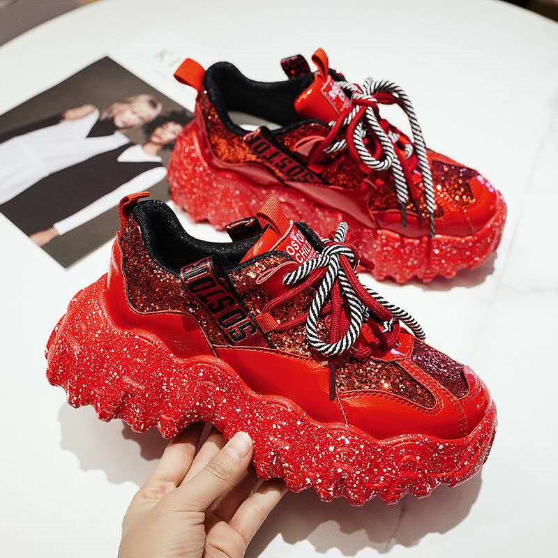 Daddy shoes ins super fire sneakers women Korean rhinestone patent leather casual wild net red double lace-up women's shoes