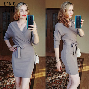 Image 3 - YornMona elegancki rękaw w kształcie skrzydła nietoperza V Neck z dzianiny biała sukienka 2019 jesienno zimowa w stylu Vintage kobiety sukienka Sash Ladies sukienka biurowa