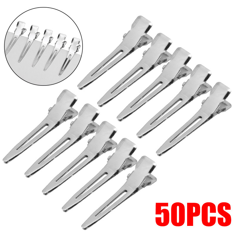 50Pcs DIY Hair Clips Modish Flat Metal Single Prong Alligator Hair Clips Barrette For Bows Silver Hairpins For Hair Styling Tool
