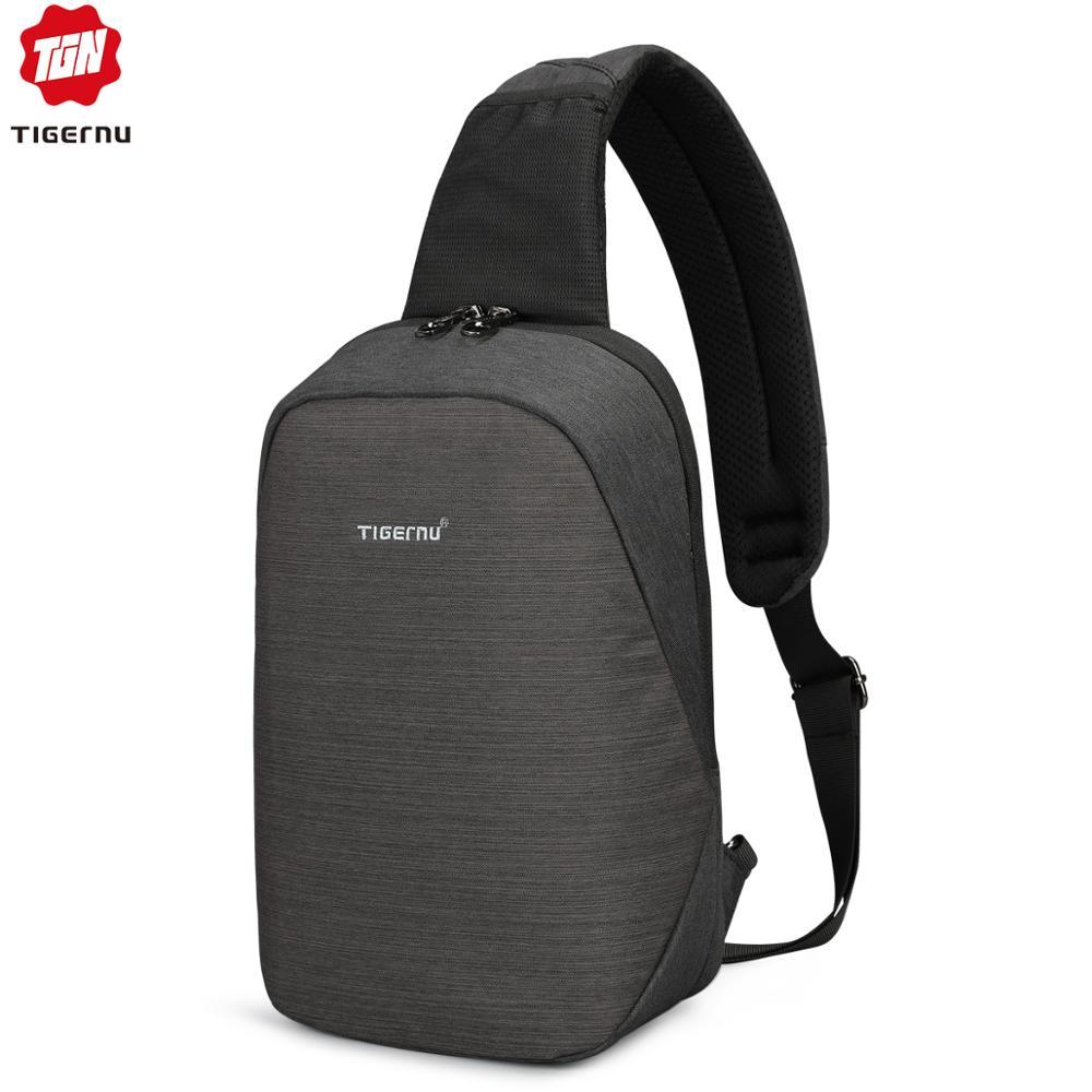 Tigernu Anti Theft Crossbody Bag Casual Men Chest Bag Waterproof Sling Shoulder Bag Messenger Bag Fit 9.7