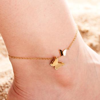 Wisiorek z motylem łańcuszek na nogę łańcuszek na nogę lato joga plaża bransoletka na nogę ze stali nierdzewnej anklet damska dziewczyna początkowy łańcuszek biżuteria prezent tanie i dobre opinie JEBWMN STAINLESS STEEL CN (pochodzenie) Metal 21+5cm Kobiety Łańcuszki na nogi Śliczne Romantyczne Owady A00095 moda