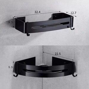 Image 5 - Nail Free Space Aluminum Black Bathroom Shelf Cosmetic Rack With Single Lever Bath Corner Basket With Hook Bathroom Rack Shelf C