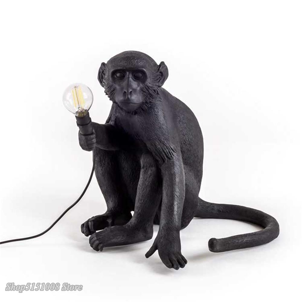 Seletti preto moderno macaco lâmpada corda de cânhamo luzes pingente país da américa resina loft industrial pendurado luminária decoração para casa - 3