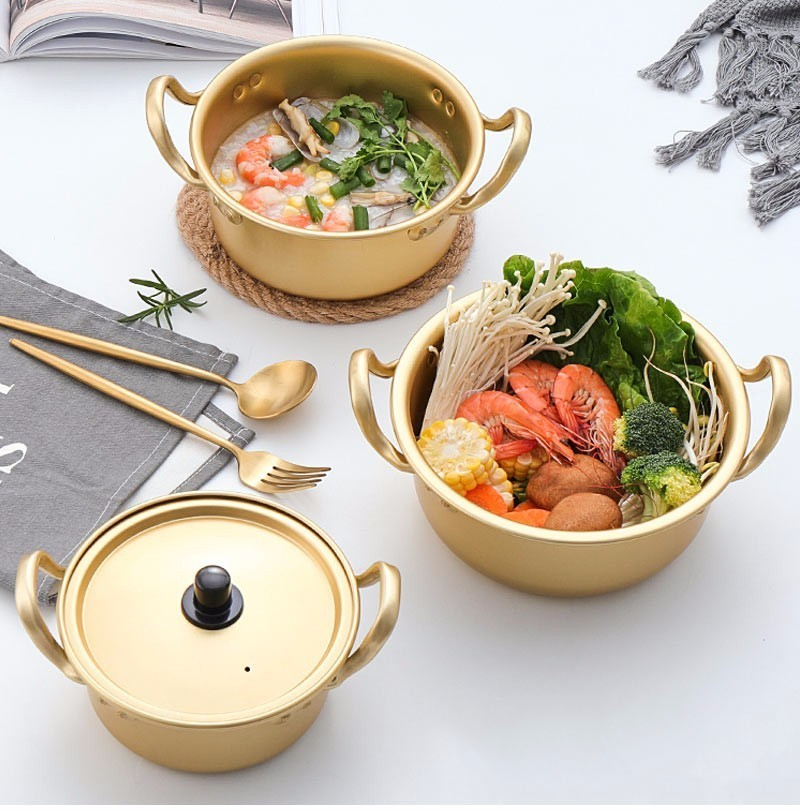 Creative Gold Soup Pot Aluminum Alloy Non-stick Milk Pot Stockpot Cooker Salad Instant Noodle Bowl Kitchen Cooking Tools 14-20cm