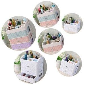 Image 5 - פלסטיק מגירת איפור ארגונית קוסמטי יופי תיבת נייל שולחן העבודה אחסון מקרה מברשת שפתון לק מיכל אמבטיה פריט