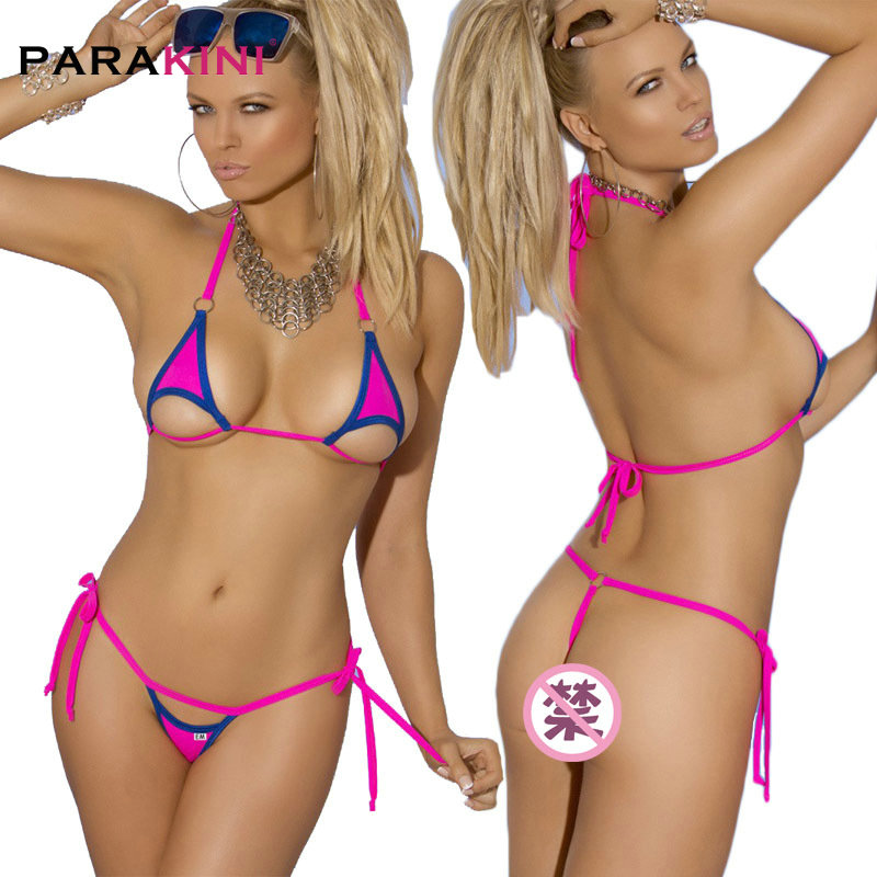 PARAKINI <font><b>Extremely</b></font> <font><b>Sexy</b></font> <font><b>Micro</b></font> <font><b>Bikini</b></font> 2pcs Women Brazilian Beach Swim wear Female Sunbath <font><b>G</b></font> <font><b>String</b></font> <font><b>Bikinis</b></font> Set <font><b>Sexy</b></font> <font><b>Mini</b></font> Swimsuit image