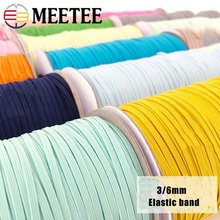 Meetee 10Meters 3/6mm Elastic Bands Rope Rubber Hair Band Ribbons Sewing Webbing Tapes Waist Shoes Belt DIY Garment Accessories 3 5meter meetee 50mm elastic band rubber band webbing pants waist binding tapes for skirt bags belt sewing clothing accessories