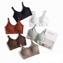 Crop-Top Yoga-Bra Fitness-Top Seamless Push-Up Women Gym Breathable for Cup Home