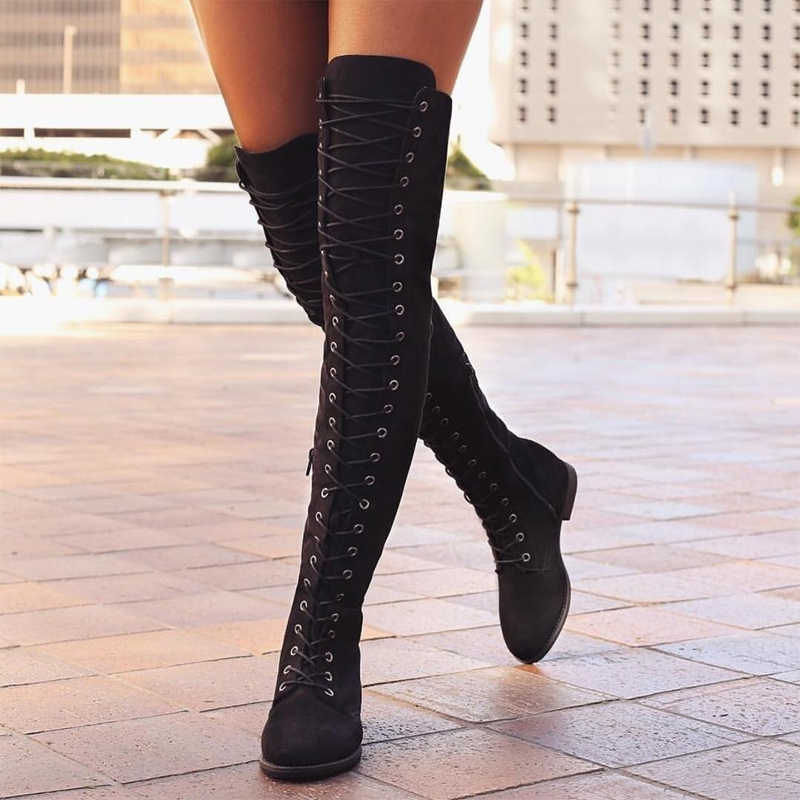Sexy Women Boots Lace Up Over Knee Boots Woman Suede Long Boots Rome Style Thigh High Boots Women Flats Winter Shoes 35-43