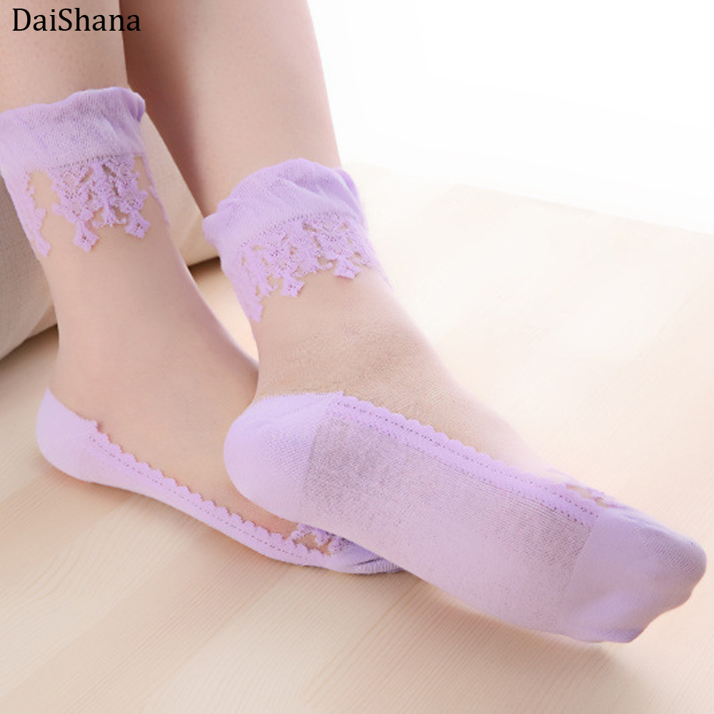 DaiShana Summer Ladies Lace Embroidery Silk Transparent Glass Crytal Stretch Women Socks Breathable Socks Hot Selling 1 Pair