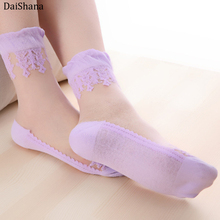Breathable Socks Embroidery Lace Glass Stretch Silk Transparent Summer Ladies 1-Pair