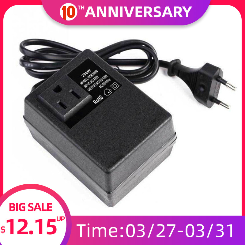 <font><b>200W</b></font> Voltage Converter Transformer <font><b>220V</b></font> <font><b>To</b></font> <font><b>110V</b></font> Step Down Travel Voltage Transformer Converter EU Plug image