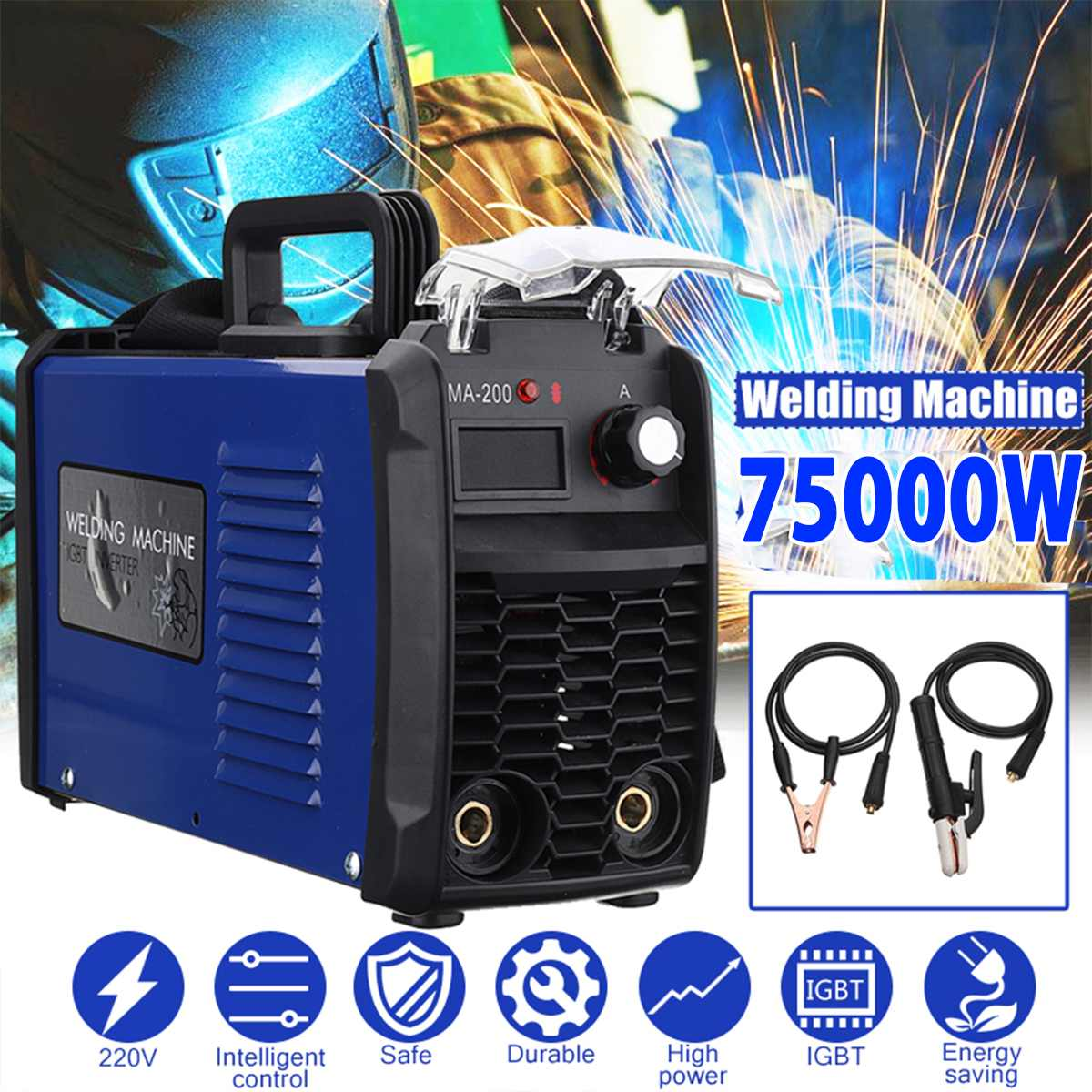 7500W/6000W DC Inverter ARC Welder 220V IGBT MMA Welding Machine 200Amp/250Amp For Home Beginner Lightweight Efficient