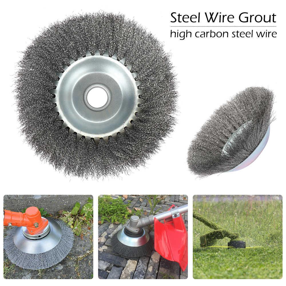 Cepillo para segadora de jardín, cepillo de rueda de alambre de acero al carbono, cabezal recortador de hierba, Herramientas de limpieza de malezas para cortadora de césped de jardín