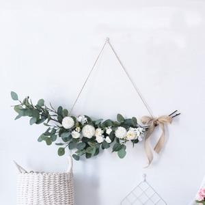 Artificial Green Eucalyptus Garland Leaves Vine Silk Leaf Fake Rattan Artificial Plants Ivy Wreath Wall Hanging Wedding Decor