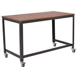 Drewniana górna metalowa rama Rolling komputer biurko Laptop stół z 4 uniwersalnymi kołami wysokiej jakości stalowa rura wiórowa HW54475|Biurka na laptopy|   -