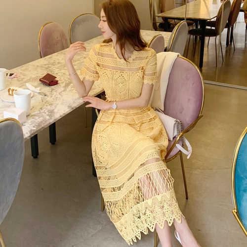 Donne Elegante Giallo Del Merletto di Stile di Estate del Vestito Manica Corta Hollow Out Sexy Vestiti Delle Donne Casual Femminile Del Partito Midi Dress Vintage