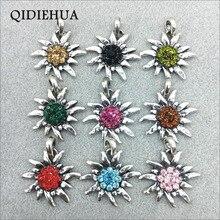 Fashion New DIY Crystal Flower Jewelry Making Pendants Tibetan Silver Oktoberfest Charm Edelweiss Pendant Handmade Craft