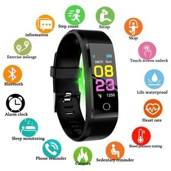 Nowy inteligentny zegarek mężczyźni kobiety pulsometr pomiar ciśnienia krwi Smartwatch Sport zegarek dla ios android + BOX
