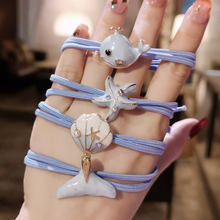 Милые синие жемчужные эластичные резинки для волос с дельфином