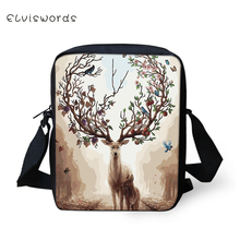 ELVISWORDS Womens Fashion Messenger Bags Cartoon Deer Pattern Girls Cross Body Bag Fantasy Animal Design Mini Flaps Purse