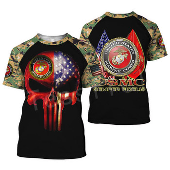 Tessffel America Marine Camo Skull Soldier Army NewFashion Casual 3DPrint Unisex Summer Funny T-Shirt Short Sleeve Men/Women B-3 1